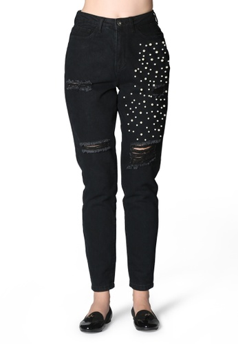London Rag black Black Ripped and Pearl Stud Slim fit Jeans 1A067AA4C0E4CFGS_1