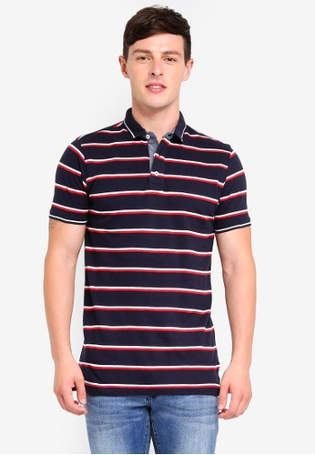 fbf9b9170 Brave Soul multi and navy 3 Button Placket Polo Shirt 33024AA2518313GS 1.  CLICK TO ZOOM
