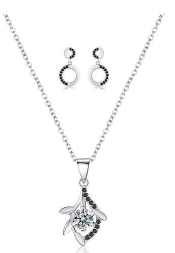 A-Excellence white Premium Elegant White Sliver Necklace Earring Set 685C4AC42BC93FGS_1