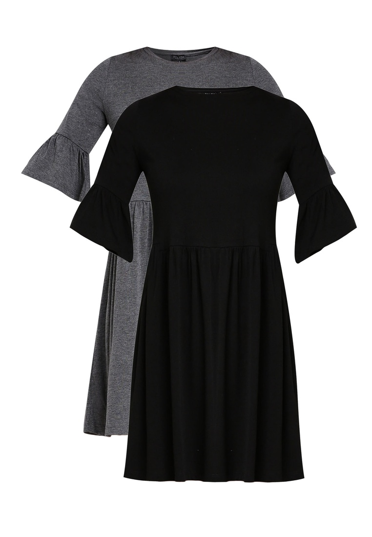 Black Marl Basic Ruffle ZALORA 2 Shift Grey Sleeves BASICS Dress pack 8OwvqB