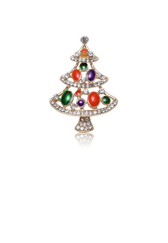 Glamorousky white Fashion and Elegant Plated Gold Christmas Tree Brooch with Cubic Zirconia 9FB16AC8A6AF84GS_1