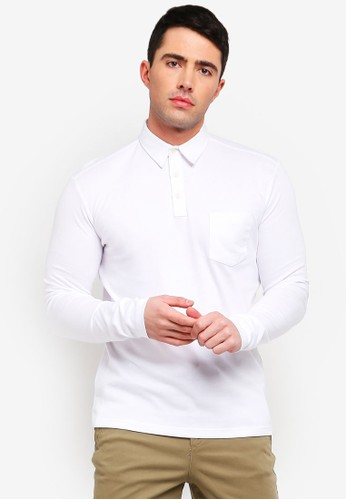 Selected Homme white Johnny Knitted Long Sleeve Polo Shirt 3F43DAAC3BE4FFGS_1