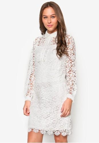 荷葉飾細肩帶直筒洋裝, 服飾, esprit hong kong 分店洋裝