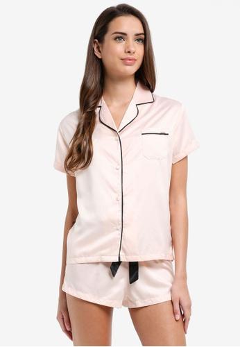 Bluebella pink Abigail Shirt and Shorts Set 0BD0CAA8EA82CBGS_1