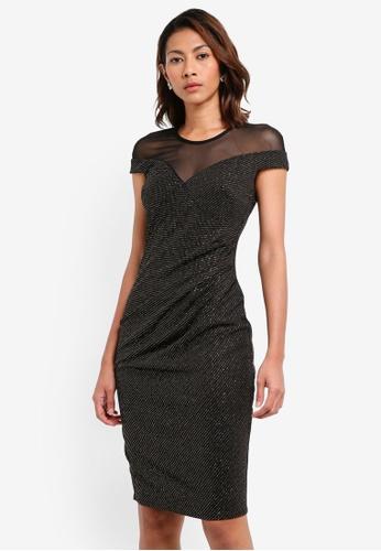 Goddiva black Pleated Glitter Midi Dress With Mesh Detail 6BDD1AA343E4FBGS_1