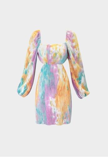 Pomelo purple Tie Dye Cut Out Pleated Dress - Purple C1557AA30FC3E0GS_1