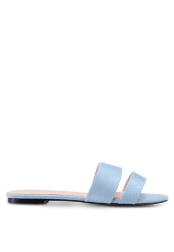 Public Desire blue Edie Double Strap Sliders 8C31DSH979851AGS_1
