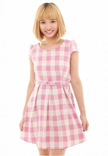 LUXORA white and pink Check Pastel Red White Waist Belt Linen Dress LU926AA53QTISG_1
