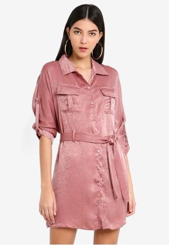 MISSGUIDED pink Tie Waist Utility Shirt Satin Dress 40AAAAAB4924B0GS_1