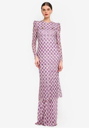 Rizalman for Zalora white and purple Long Jersey Kurung RI909AA0SF0UMY_1