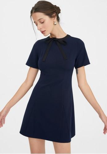 Pomelo blue Halter Tweed Trim Dress - Navy 96848AA9D74A4EGS_1