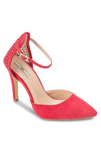 沖孔繞踝尖頭高跟鞋, 女鞋, 厚底高跟esprit outlet 旺角鞋