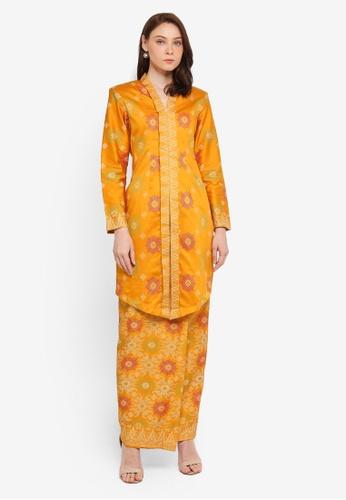 Butik Sireh Pinang yellow Ainan Cotton Satin Kebaya with Songket Print 682E3AAD88F19BGS_1
