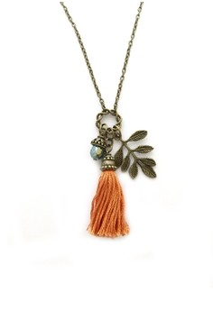 Orange Tassel Necklace with Leaves Charm and Crystal