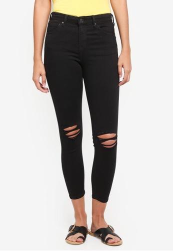 TOPSHOP black Petite Black Ripped Jamie Jeans B4273AABF8DF58GS_1