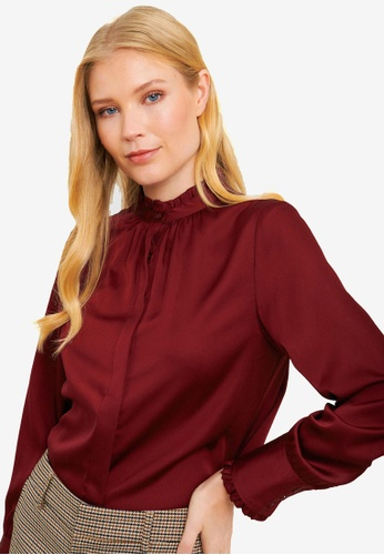 FORCAST red Renee Button Up Blouse FE4BCAACB1015BGS_1