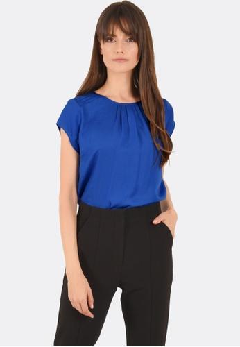 FORCAST blue Lena Cap Sleeve Top FO347AA0GGE6SG_1