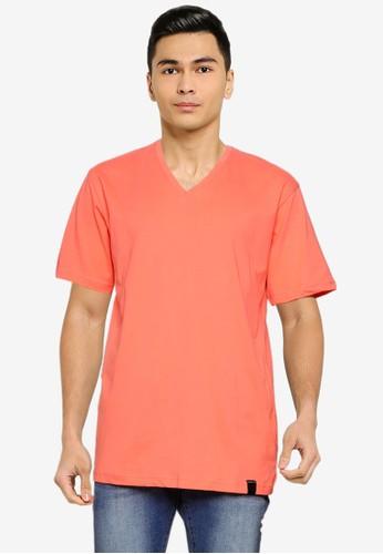 UniqTee orange Essential V-Neckline Tee 61408AAD177600GS_1