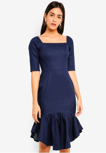 MDSCollections navy Square-Neck Ruffled Dress E64E5AAA8F4820GS_1