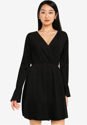 ZALORA BASICS black Long Sleeve Wrap Rib Dress 4234EAA6296EA0GS_1