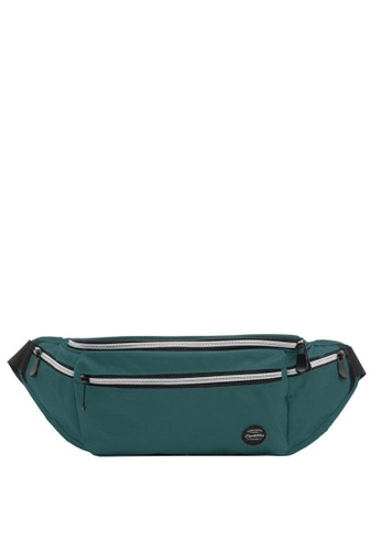 OPTIONS black and green and blue Border Waist Pouch 83DD4ACE984529GS_1