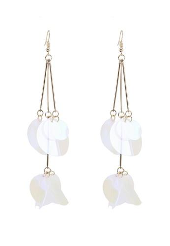 Red's Revenge white Falling Petal Sequins Dangle Earrings 6639DAC8B96BC2GS_1