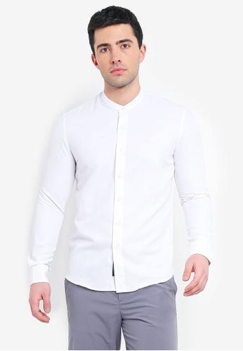 UniqTee white Mandarin Collar Long Sleeve Shirt 5D00EAABCCB666GS_1