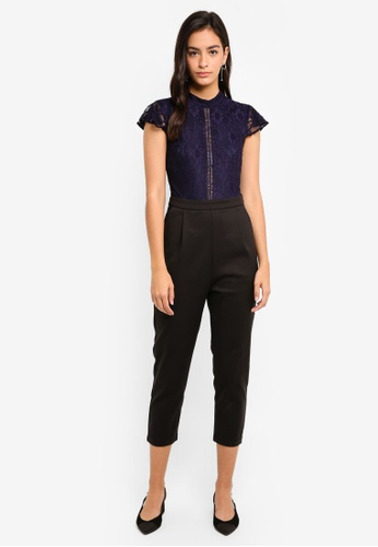 MDSCollections navy Sheer Lace Jumpsuit In Midnight 54C94AA6E7C90BGS_1