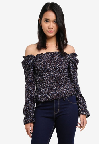 TOPSHOP navy Shirred Ditsy Long Sleeve Top AE105AABA45694GS_1