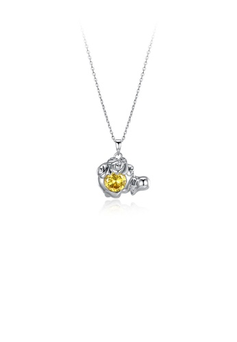 Glamorousky yellow 925 Sterling Silver Fashionable Leo Pendant with Yellow Austrian Element Crystal and Necklace 85D42ACA0B4909GS_1