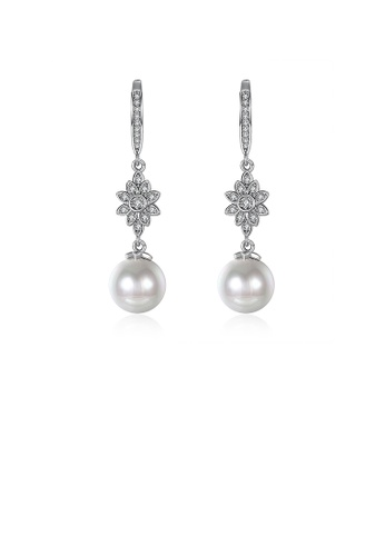 Glamorousky white Elegant Flower Earrings with Fashion Pearls and Austrian Element Crystals 73C13AC6D07357GS_1