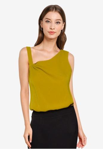 ZALORA WORK yellow and green Drape Detail Asymmetric Neckline Top 8A6C1AA76C96F2GS_1
