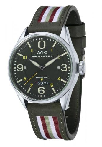 AVI-8 green Hawker Harrier II Men's Leather Watch AV642AC64JRZPH_1
