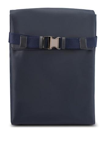 ZALORA navy Flap Nylon Backpack A1683ACE8617BAGS_1