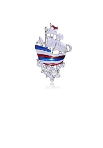 Glamorousky white Fashion Personality Sailing Brooch with Imitation Pearls D8EC8AC772EEB9GS_1