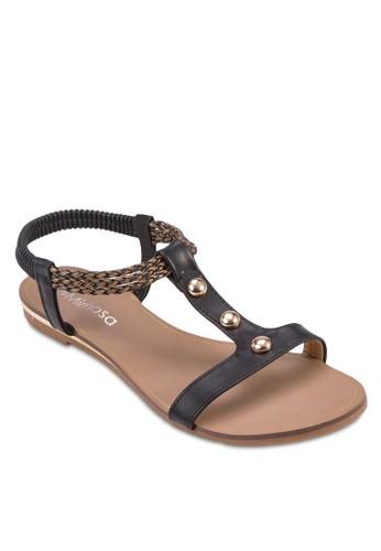 金屬飾T字帶繞踝涼esprit hong kong鞋, 女鞋, 鞋