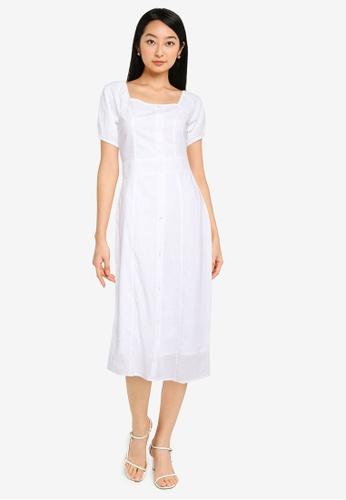 ZALORA BASICS white Button Down Midi Dress 37606AA0139CE7GS_1