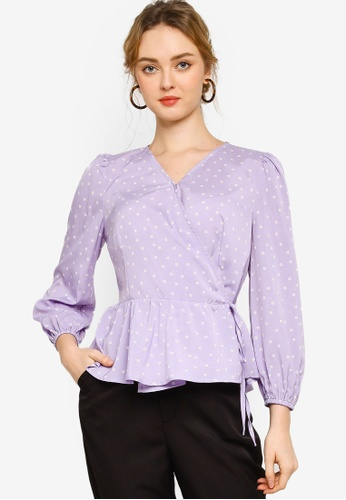Lubna purple Wrap blouse AED8CAAC060E4CGS_1