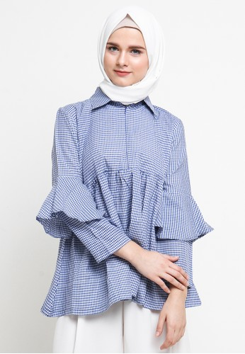 Jeanny Gingham Top Blue