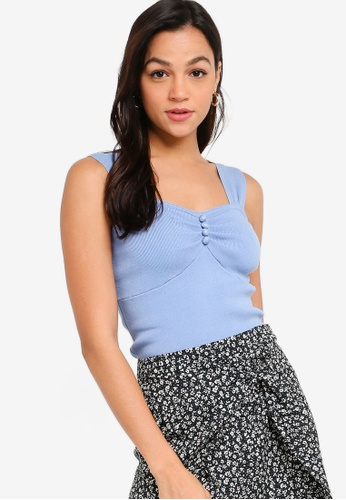 ZALORA YOUNG blue Button Ruched Front Knit Top 4D028AAAFBC1F0GS_1