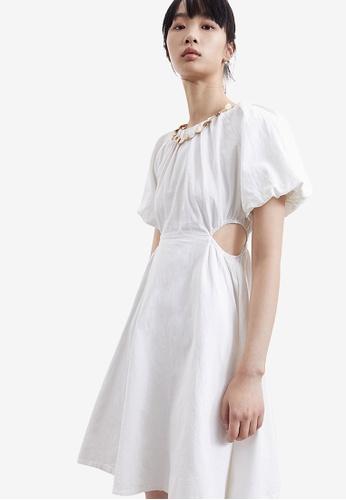 Urban Revivo white Open Waist Casual Dress 00A38AA26312FAGS_1