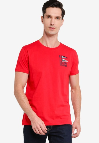 Sacoor Brothers red 100% cotton short sleeve t-shirt with artwork 0944FAADCE7D7AGS_1