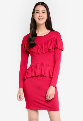 ZALORA red Ruffle Front Jersey Dress C52EBAA9625A22GS_1