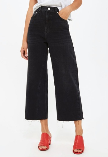 TOPSHOP black MOTO Washed Wide Leg Jeans TO412AA0S4HDMY_1
