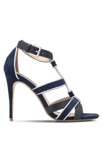 ZALORA 海軍藍色 T字繞帶造型高跟鞋 86570SH6270B45GS_1