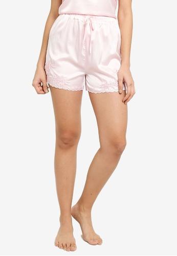 ZALORA BASICS 粉紅色 Lounge Embroidered Scallop Shorts 808B4AA8BC0CE2GS_1