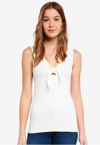Dorothy Perkins 白色 Tie Front Vest D687BAA31DE38DGS_1
