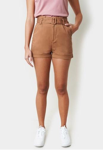 Penshoppe brown Belted High Waist Shorts 62853AA5169C7AGS_1