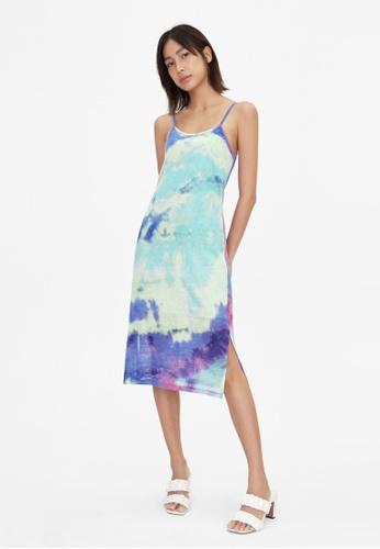 Pomelo blue Tie Dye Print Strappy Dress - Blue E5DE6AABD0A267GS_1