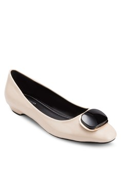 Lizzy Buckle Square-Toe Flats